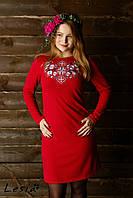Сукня Лісова пісня срібна на червоному – довгий рукав