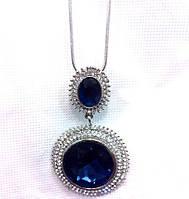 Красивая подвеска с большим синим камнем, кристаллами, 80см