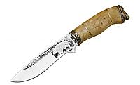 Нож для охоты Кабан 3 с рисунком, чехол из кожи в комплекте, рукоять кап клена, нож охотничий, для охотников
