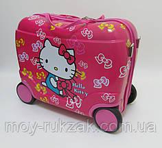 Детский чемодан - каталка на 4 колесах Hello Kitty