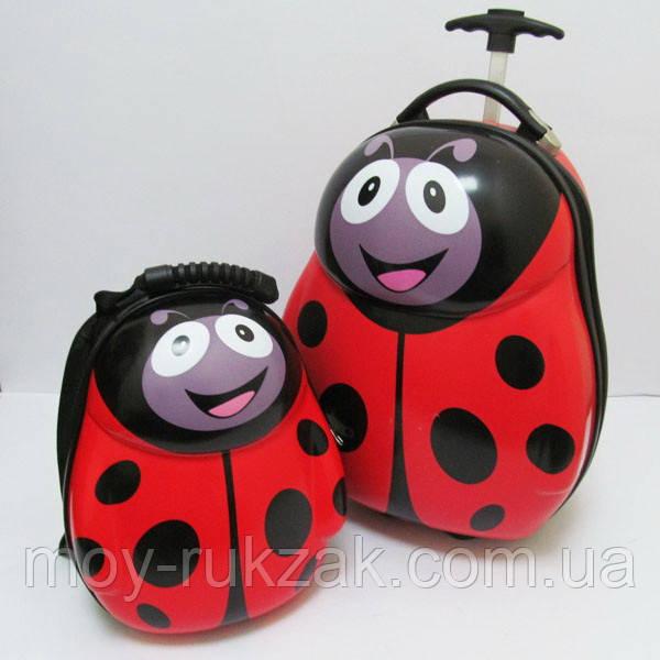 Набор чемодан детский на колесах + рюкзак Божья Коровка