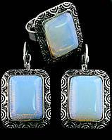 Комплект Лунный камень серьги и кольцо код 383