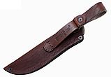 Нож охотничий КАБАН - 1 с рисунком, кожанный чехол, рукоятка дерево, нож для охоты, фото 3
