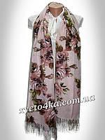 Турецкий кашемировый палантин Вернисаж пудра -розовый