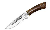 Нож охотничий Охотник, с рисунком , кожанный чехол комплекте, рукоятка дерево, нож для охоты