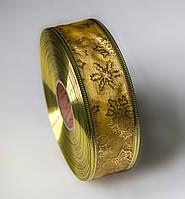 Новогодняя лента с проволочным краем, 3,8 см, цвет золото,
