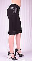 Женская юбка с карманами и вставками из кожи, р.40-52