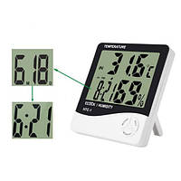 Электронный термометр гигрометр часы HTC-1 внутренний БЕЛЫЙ SKU0000423