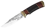 Нож охотничий Волкодав, кожанный чехол, рукоятка наборная кожа кап латунь, нож для охоты