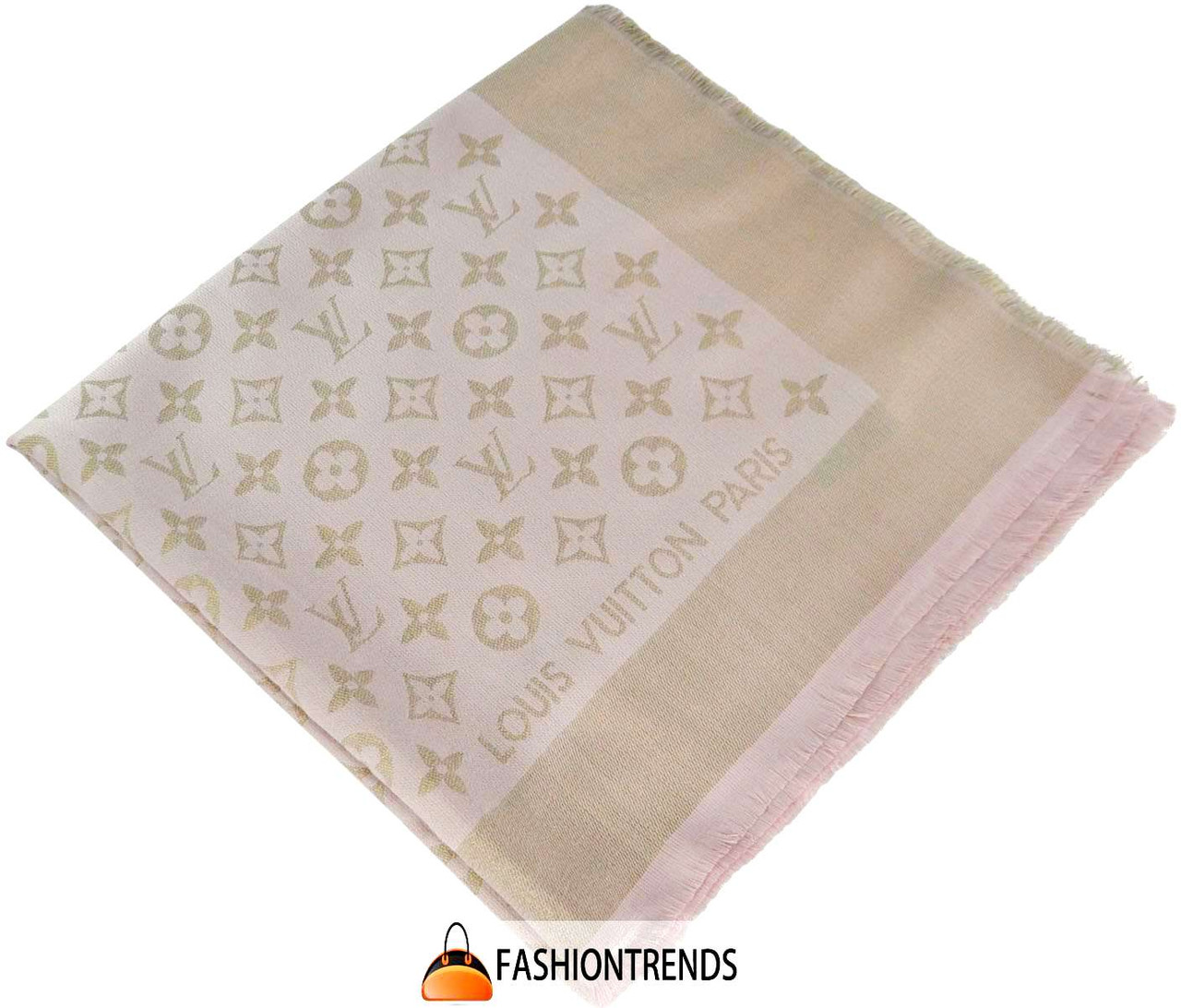 Шаль Louis Vuitton Metal розовая с золотом (реплика)