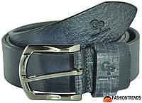 Мужской кожаный ремень Grande Pelle Labbro синий 3.5 см