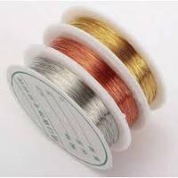 """Проволока бижутерная цвет """"серебро"""",диаметр 0.3мм, 10м."""