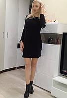 Женское короткое платье ангора черного цвета с латками на рукавах Ю300