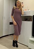 Женское стильное платье миди длина с мехом на рукавах цвета танго Ю310