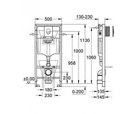 Комплект для подвесного  унитаза (бачек, крепеж, кнопка хром - двойн. слив) GROHE Rapid SL 38721001, фото 2