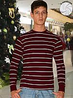 Теплая мужская футболка (кофта) (Бордовый)