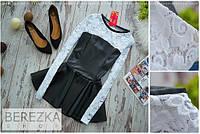 Платье с кожаным корсетом и юбкой клеш
