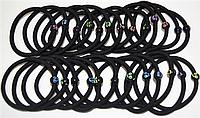 Резинка для волос (основа) Черная Смайлик D5.5 см 10 шт/уп