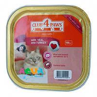 Клуб 4 лапы Паштет для котов Индейка 100г