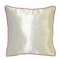 Подушка квадратная атласная с розовым  кантом.