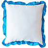 Подушка квадратная атласная с голубым  рюшем.