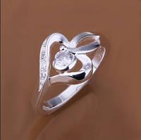 Кольцо Сердце Сваровски покрытие 925 серебро проба