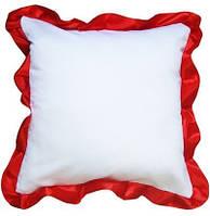 Подушка квадратная атласная с красным  рюшем.