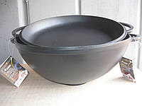 Казан чугунный (кастрюля WOK) эмалированный с чугунной крышкой-сковородой. Объем 8,0 литров.