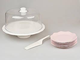 Набор для торта 9 предметов в бело-розовых тонах (блюдо с крышкой, 6 тарелок, лопатка) 359-001