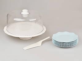 Набор для торта 9 предметов в бело-голубых тонах (блюдо с крышкой, 6 тарелок, лопатка) 359-002