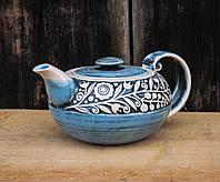 """Чайник , декор """"Вінок"""",кобальт, фото 1"""