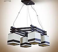 Люстра  деревянная с абажуром для высоких потолков