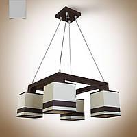 Люстра на 4 лампочки для высоких потолков с абажурами