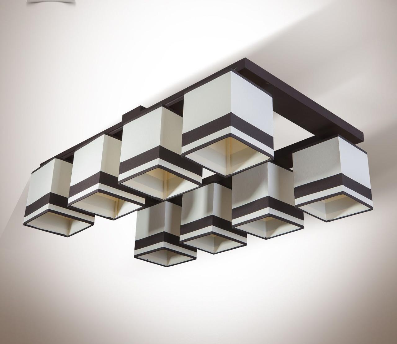 Люстра 8 ламповая, деревянная c абажурами для гостиной, кабинета 19408