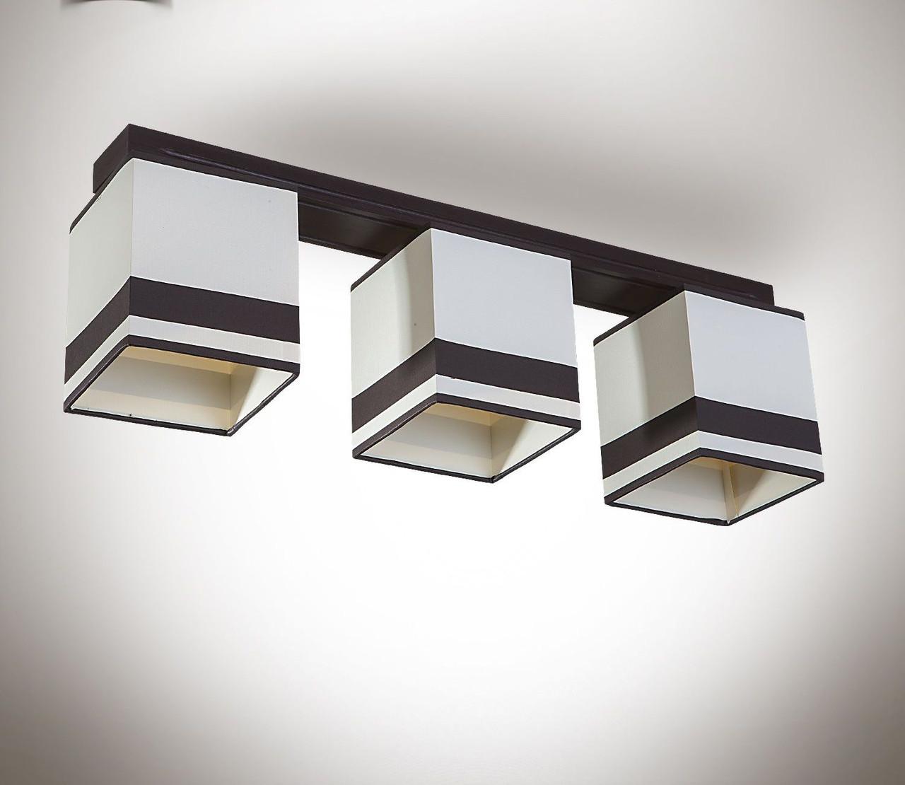 Люстра 3 ламповая, деревянная c абажурами для спальни, кухни, прихожей  19413