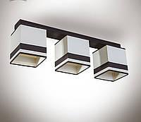 Люстра 3 ламповая, деревянная c абажурами для спальни, кухни, прихожей