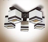 Люстра 5 ламповая, деревянная c абажурами для спальни, кухни, прихожей