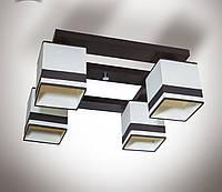 Люстра 4 ламповая, деревянная для зала, спальни