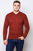 Теплый шерстяной мужской свитер - бордо-зима.