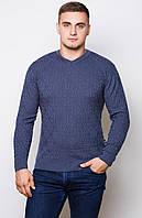 Мужской стильный свитер . Цвет- темный  джинс ( M-48 ), фото 1