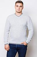 Теплый мужской свитер -св.серый.