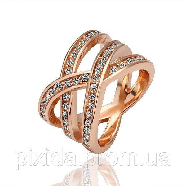 Кольцо покрытие золото 18К плетение чешский хрусталь