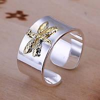 Кольцо стрекоза покрытие 925 серебро икрустация золотом