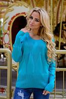 Женский  свитерок  с геометрическим орнаментом. Св.зеленый ( 44-48-один универсальный)