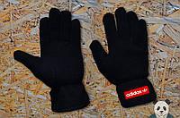 Стильні зимові чорні рукавички адідас,Adidas