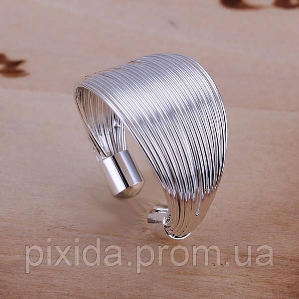 Кольцо открытое жгутик покрытие 925 серебро проба