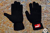 Модные черные зимние перчатки пума ,Puma