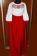 Жіноча вишиванка-плаття червоне довге