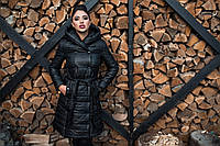 Зимнее стеганное пальто на синтепоне с капюшоном черное