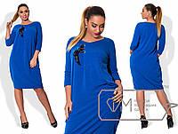 Платье из ангоры с круглым вырезом и асимметричной корсажной драпировкой лифа на ленте размер 48-54